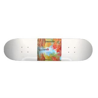 Autumn walk skateboard