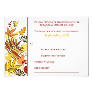 Autumn Wedding RSVP Card | Leaves, Seeds, Berries 9 Cm X 13 Cm Invitation Card