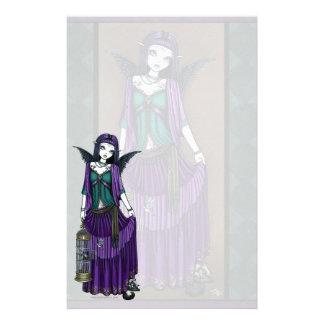 """Avery"" Gothic Angel Bird Cage Stationery"
