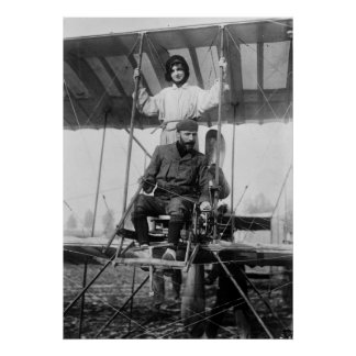 Aviator Henri Farman and Wife, early 1900s Poster