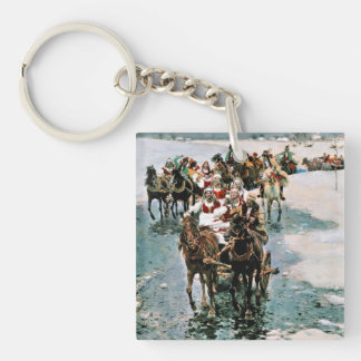 Away Bride Double-Sided Square Acrylic Key Ring
