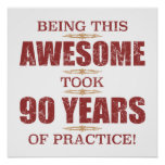 Awesome 90th Birthday Poster
