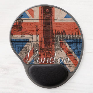 Awesome cool trendy old wood grunge U.k. Flag Gel Mouse Pad