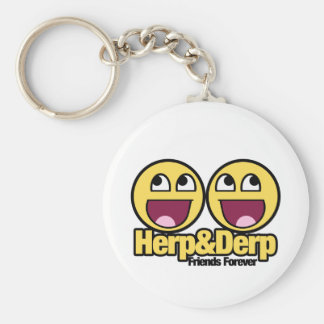 Awesome Smiley Herp and Derp Basic Round Button Key Ring