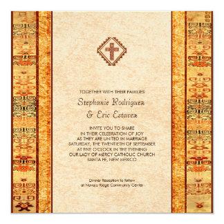 Aztec Fiesta Christian Cross Square Wedding 13 Cm X 13 Cm Square Invitation Card