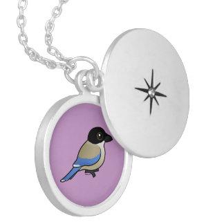 Azure-winged Magpie Round Locket Necklace