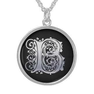 """B Initial Monogram """"Silver Lace on Black"""" Necklace"""