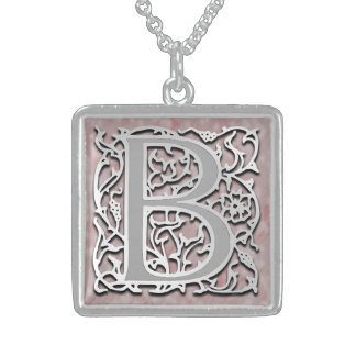"""B Initial Monogram """"Silver Stone"""" Necklace"""