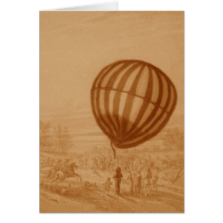 BA02285FAC01Z-First Manned Gas Balloon Flight Land Greeting Card