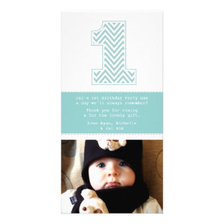 Baby 1st Birthday Number 1 Thank You Photo Card