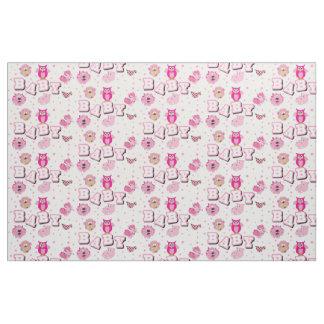 Baby Animal Pattern   Pink Polka Dots Fabric