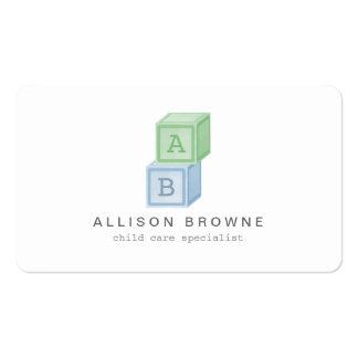 Baby Blocks Monogram Childcare, Babysitter Card 3 Pack Of Standard Business Cards