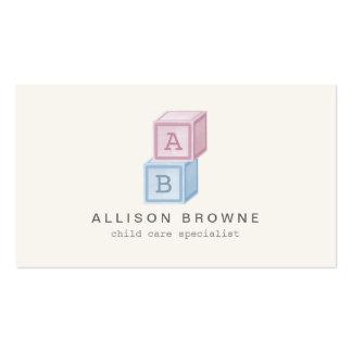 Baby Blocks Monogram Childcare, Babysitter Card II Pack Of Standard Business Cards