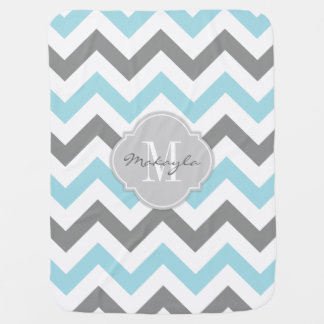 Baby Blue and Gray Chevron with Monogram Buggy Blankets