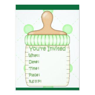 Baby Bottle Baby Shower for Girl or Boy 17 Cm X 22 Cm Invitation Card