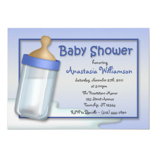 Baby Bottle Blue Baby Shower Invitations