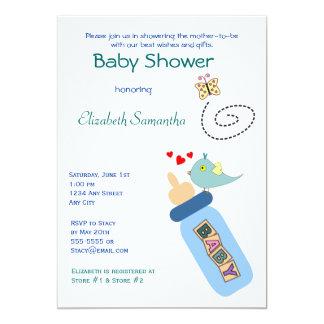 Baby Bottle Blue Shower Invitation