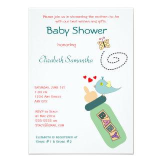 Baby Bottle Green Shower Invitation