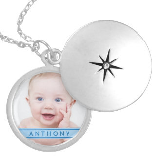 Baby Boy Photo Template Name Plate Locket Necklace