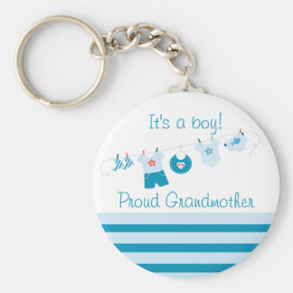 Baby Boy Proud Grandmother Blue Clothes Keychain