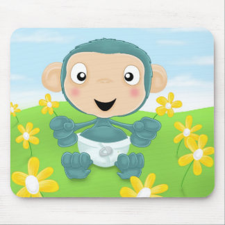 baby chimp in field of flowers mouse pad