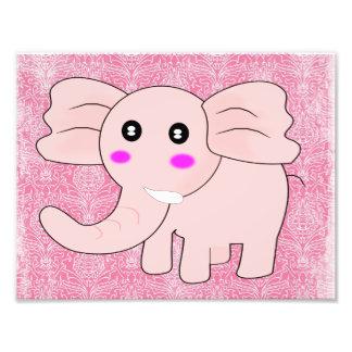 Baby Elephant Pink Damask Photo Print
