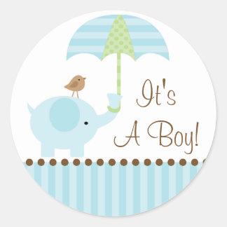 Baby Elephant Umbrella It's A Boy Sticker