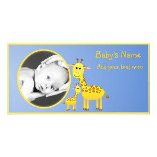 Baby Giraffe Announcement Customized Photo Card