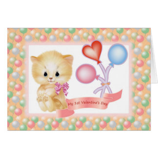 Baby - girl 1st Valentine's Day card. Greeting Card