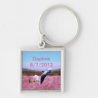 Baby Girl keepsake Silver-Colored Square Key Ring