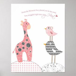 Baby girl nursery art (snuggled into my heart) poster