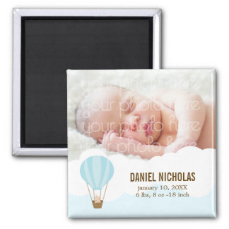 Baby in a Balloon Baby Birth Announcements Square Magnet