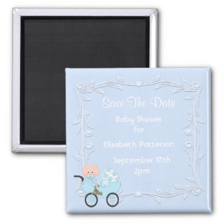 Baby in Carriage Blue Baby Shower Save The Date Square Magnet