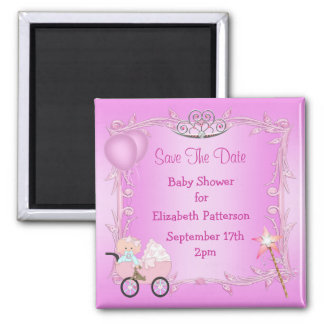 Baby in Carriage Pink Baby Shower Save The Date Square Magnet