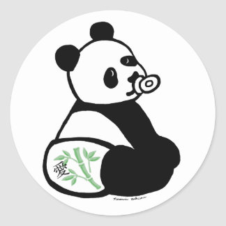 Baby Panda Cartoon Round Sticker