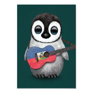 Baby Penguin Playing Haitian Flag Guitar Teal 9 Cm X 13 Cm Invitation Card