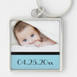 baby photo and date of birth Silver-Colored square key ring