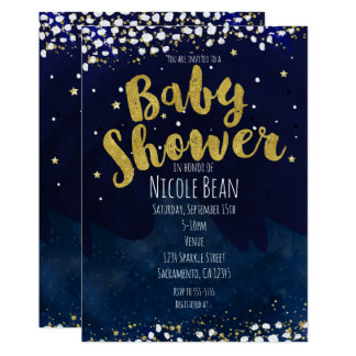 Baby Shower Blue & Gold Starry Night Invitations