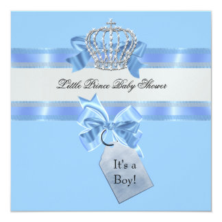 Baby Shower Boy Blue Little Prince Crown 13 Cm X 13 Cm Square Invitation Card