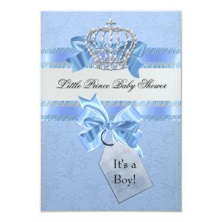 Baby Shower Boy Blue Little Prince Crown 9 Cm X 13 Cm Invitation Card