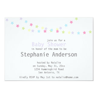 Baby Shower Colorful Pastel Stars Decoration 13 Cm X 18 Cm Invitation Card