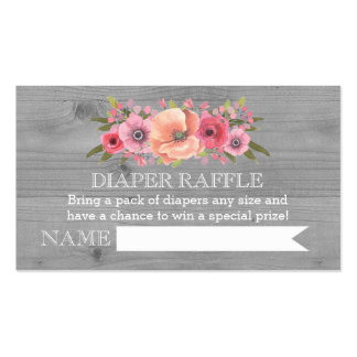 Baby Shower Diaper Raffle Card Rustic Wood Floral Pack Of Standard Business Cards