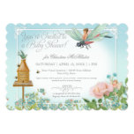 Baby Shower Fairy Garden Bees Dragonfly Rose Art 13 Cm X 18 Cm Invitation Card