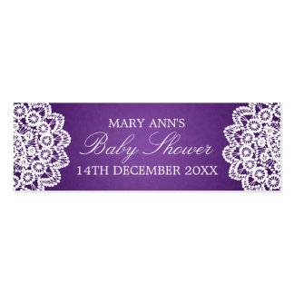 Baby Shower Favor Tag Vintage Lace Purple Pack Of Skinny Business Cards
