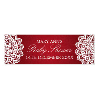 Baby Shower Favor Tag Vintage Lace Red Pack Of Skinny Business Cards