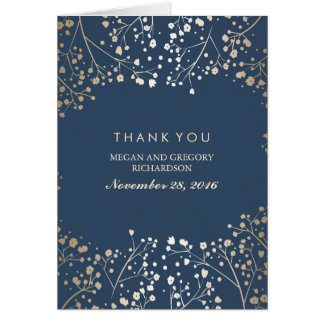 Baby's Breath Gold Foil Navy Wedding Thank You Note Card