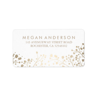 Baby's Breath Gold Foil White Wedding Address Label