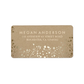 Baby's Breath Gold Kraft Wedding Address Label