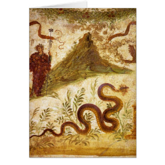 Bacchus and Serpent Agathodaimon in Pompeii Greeting Card