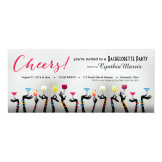 Bachelorette Cocktail Party 10 Cm X 24 Cm Invitation Card